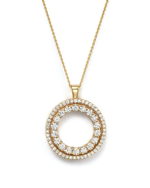 Roberto Coin | Metallic 18k Yellow Gold Double Sided Circle Pendant Necklace With White And Cognac Diamonds, 16"