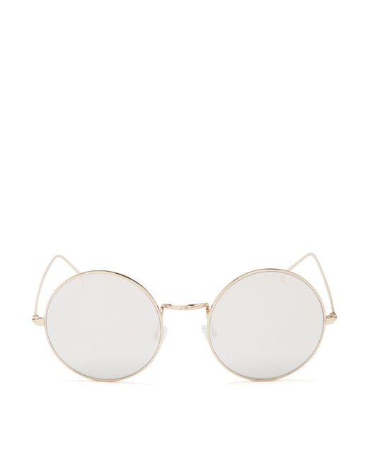 Illesteva | Metallic Porto Cervo Round Sunglasses, 50mm | Lyst