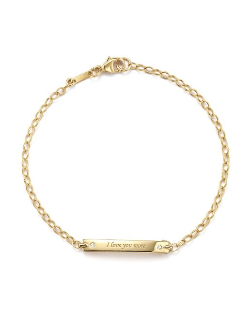 "Monica Rich Kosann | Metallic 18k Yellow Gold ""i Love You More"" Posey Bracelet With Diamond Accents 