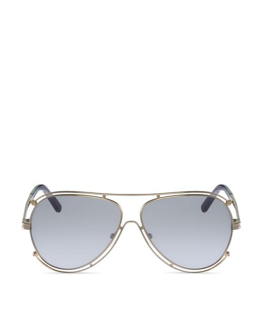 Chloé | Metallic Isidora Aviator Sunglasses, 61mm | Lyst