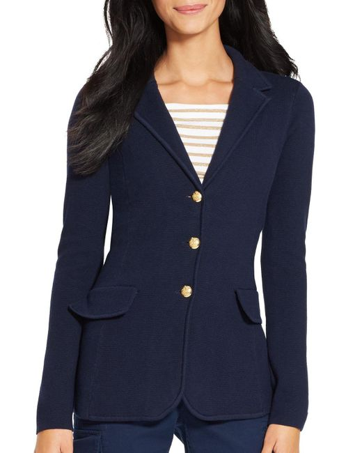 Pink Pony | Blue Lauren Knitted Blazer | Lyst