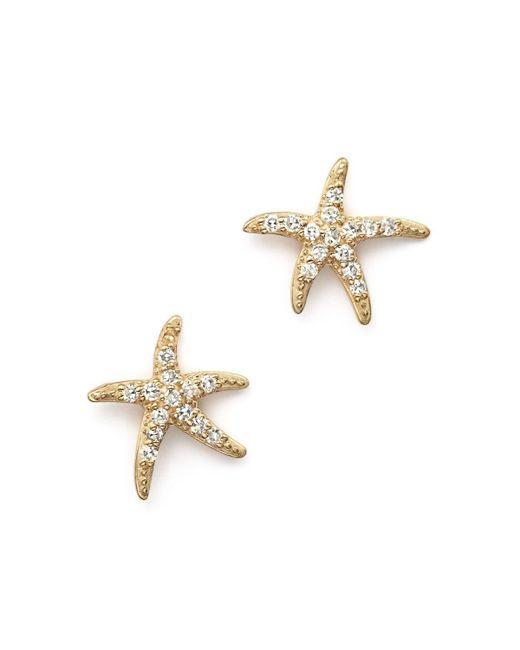 KC Designs   Metallic Diamond Starfish Earrings In 14k Yellow Gold   Lyst