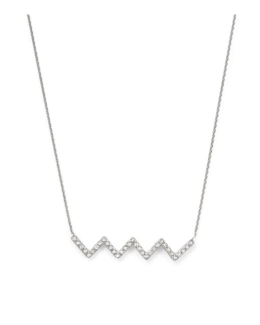 "KC Designs | Metallic Diamond Chevron Pendant Necklace In 14k White Gold, 16"" - 100% Exclusive 