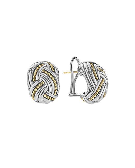 Lagos | Metallic 18k Gold & Sterling Silver Torsade Huggie Hoop Earrings | Lyst