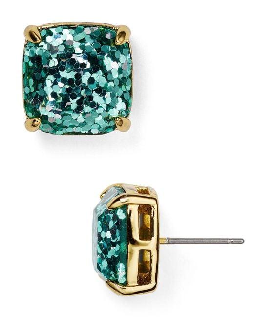 Kate Spade | Blue Small Square Glitter Stud Earrings | Lyst