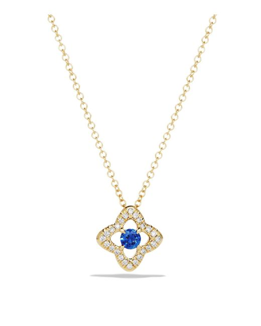 David Yurman | Metallic Venetian Quatrefoil Necklace With Blue Sapphire And Diamonds In 18k Gold | Lyst