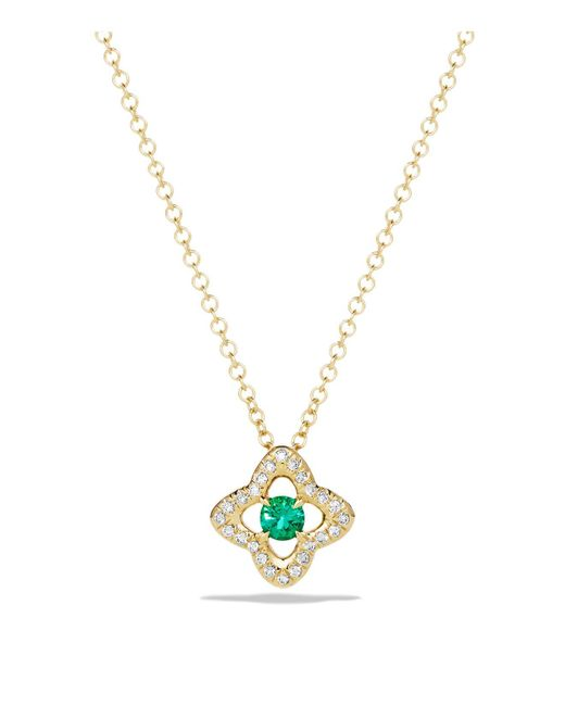 David Yurman | Green Venetian Quatrefoil Necklace With Emerald And Diamonds In 18k Gold | Lyst
