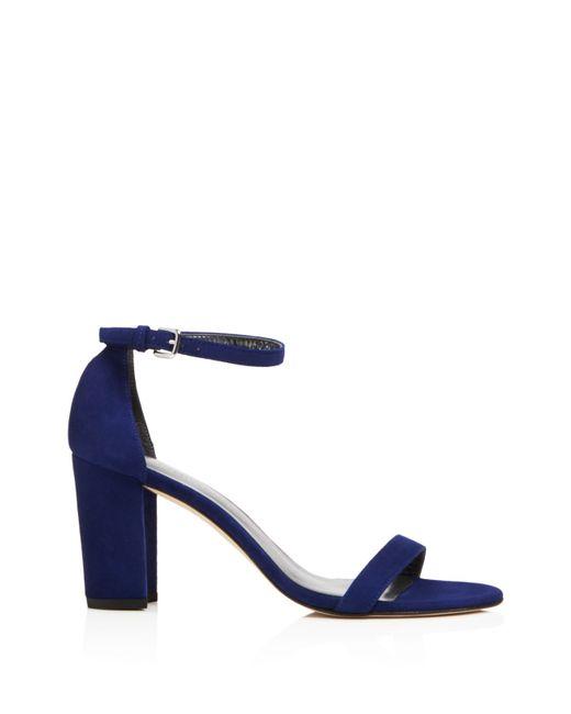 Stuart Weitzman | Brown Nearlynude Open Toe Mid Heel Sandals | Lyst