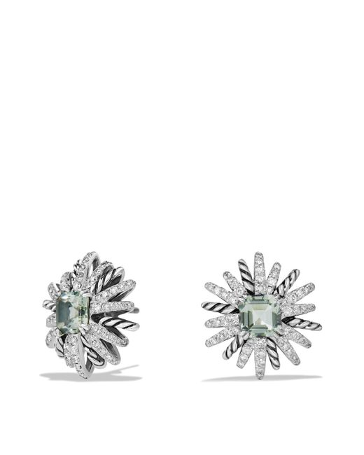 David Yurman | Green Starburst Earrings With Diamonds And Prasiolite In Silver | Lyst