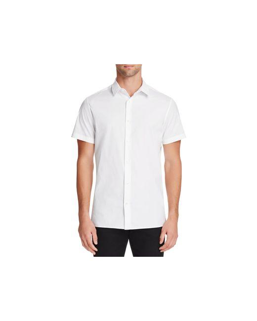 Vince manhattan short sleeve slim fit button down shirt in for Slim fit white button down shirt