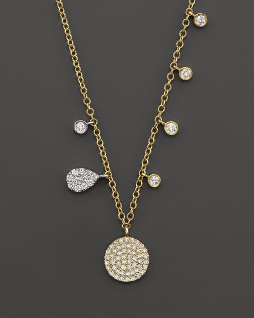Meira T - Metallic 14k Yellow Gold Disc Necklace With Diamonds - Lyst