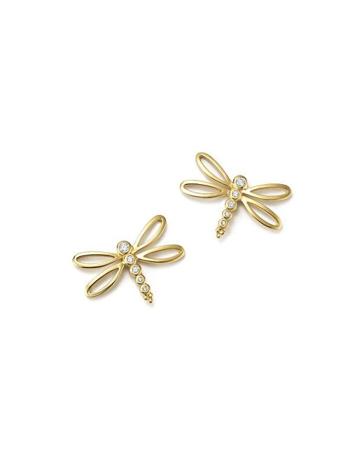 Temple St. Clair | Metallic 18k Yellow Gold Dragonfly Earrings With Diamonds | Lyst