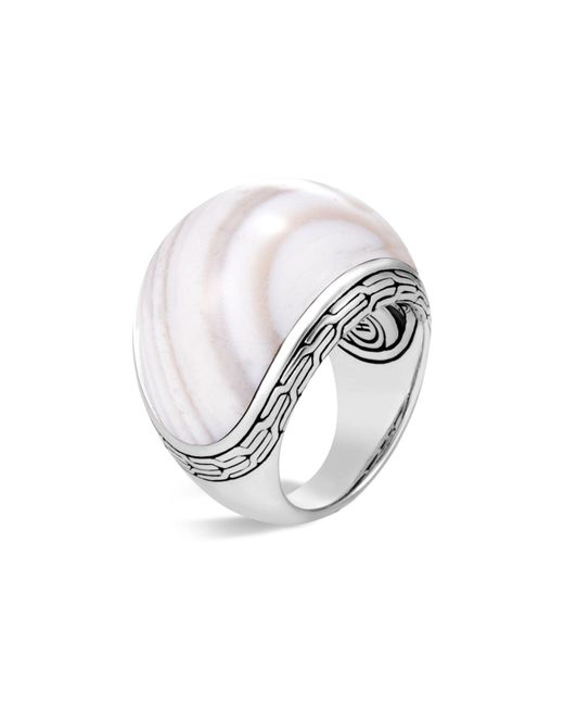 John Hardy - Metallic Sterling Silver Classic Chain Domed White Agate Ring - Lyst