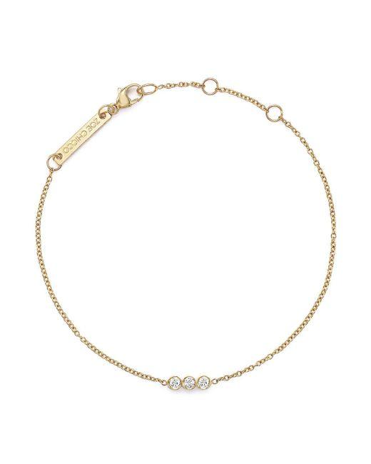 Zoe Chicco | White 14k Yellow Gold Bracelet With Bezel-set Diamonds | Lyst