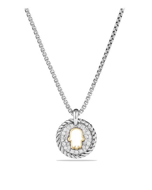 David Yurman | Metallic Cable Collectibles Hamsa Charm Necklace With Diamonds With 18k Gold | Lyst