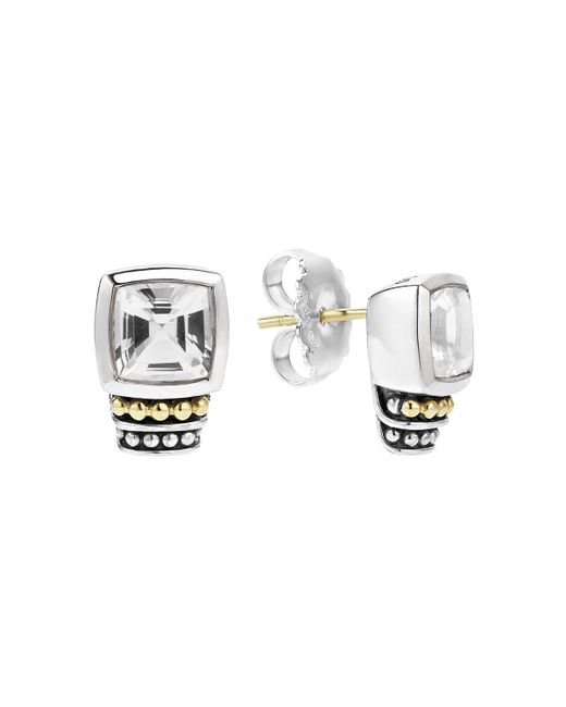 Lagos | Metallic 18k Gold And Sterling Silver Caviar Color Stud Earrings With White Topaz | Lyst