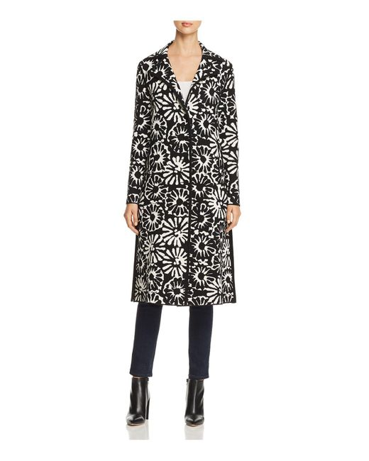 Tory Burch - Black Rosalie Floral Merino Wool Sweater Coat - Lyst