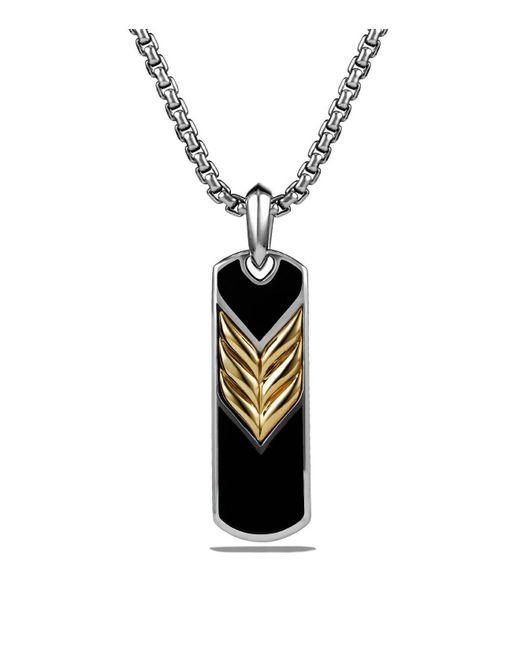 David Yurman | Chevron Tag With Black Onyx And 18k Gold | Lyst