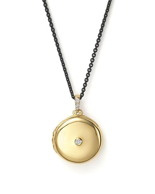 "Monica Rich Kosann   Metallic 18k Yellow Gold Round Locket Necklace With Diamonds, 30""   Lyst"
