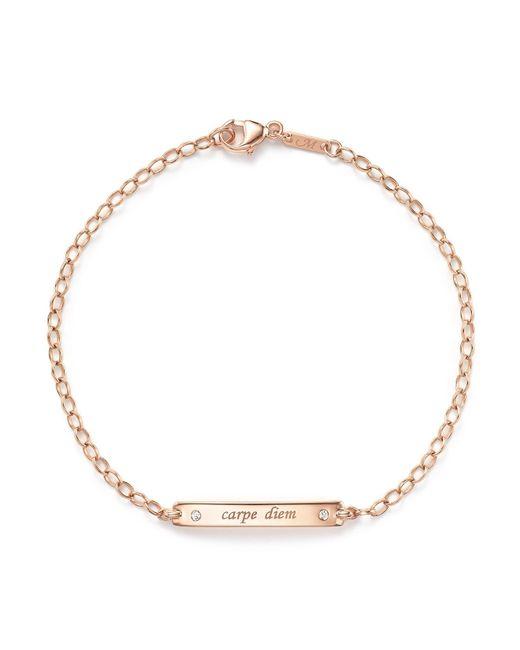"Monica Rich Kosann   Metallic 18k Rose Gold ""carpe Diem"" Poesy Id Bracelet With Diamonds   Lyst"