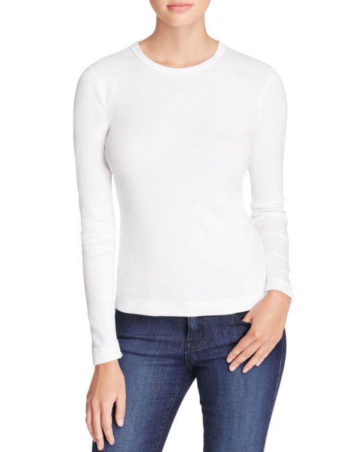 Three Dots - White Long Sleeve Crewneck Tee - Lyst
