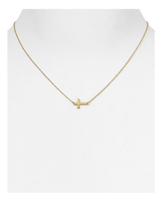 Jennifer Zeuner | Metallic Theresa Cross Diamond Pendant Necklace, 14"