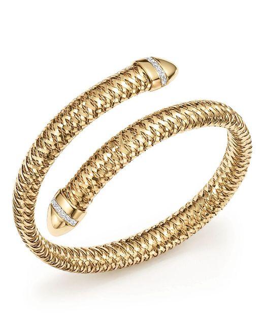 Roberto Coin | Metallic 18k Yellow And White Gold Primavera Flex Cuff Bracelet With Diamonds | Lyst