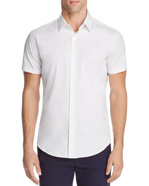 Theory sylvain wealth short sleeve slim fit button down for White short sleeve button down shirts for men