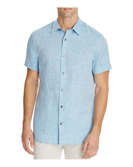 Vince melrose square hem short sleeve button down shirt in for Mens teal button down shirt