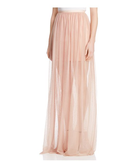 keepsake white lies tulle illusion maxi skirt in pink