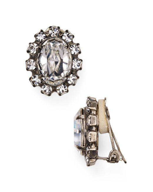 Sorrelli | Metallic Oval Swarovski Crystal Clip-on Earrings | Lyst
