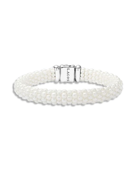 Lagos | White Caviar Ceramic 18k Gold And Sterling Silver Bracelet | Lyst