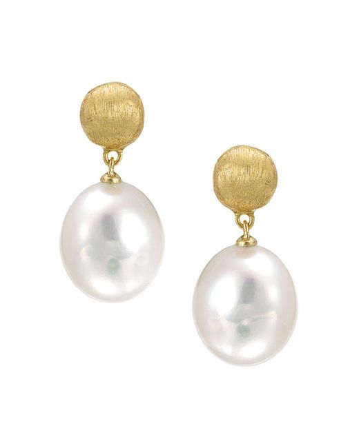"Marco Bicego - White ""africa Pearl Collection"" 18k Yellow Gold And Pearl Drop Earrings - Lyst"