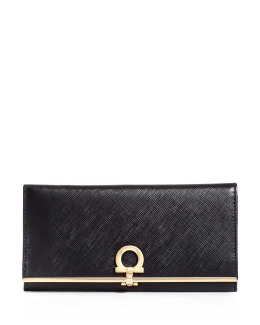 Ferragamo | Black Gancini Icona Vitello Continental Wallet | Lyst