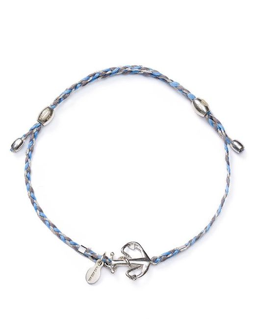 ALEX AND ANI   Blue Precious Metals Anchor Expandable Thread Bracelet   Lyst
