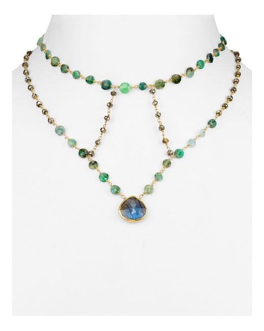 Ela Rae | Metallic Libi Two Necklace - Navy | Lyst