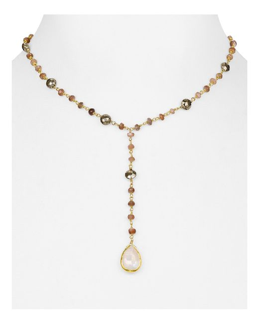 Ela Rae | Green Yaeli Moonstone Y Necklace, 14"