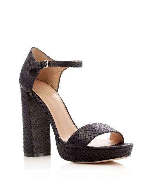 Pour La Victoire | Black Yvette Snake-embossed Platform Sandals | Lyst