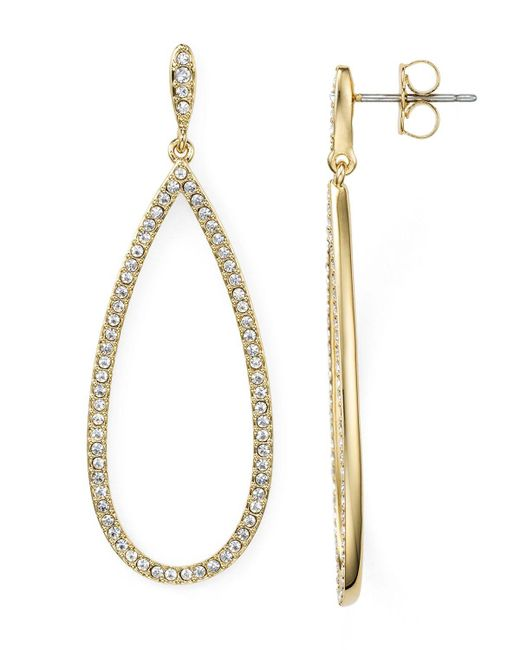 Nadri | White Pavé Gold Plated Teardrop Earrings | Lyst
