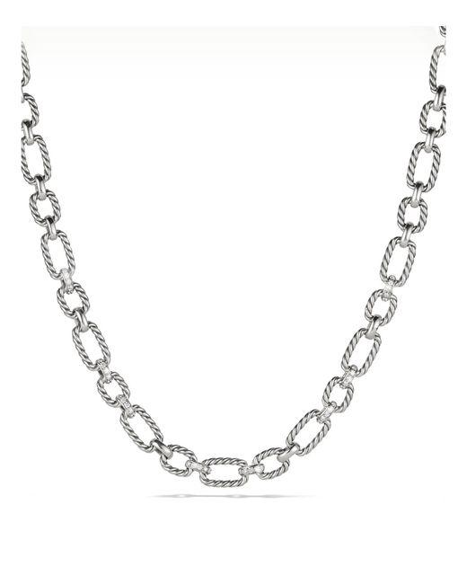 David Yurman   Metallic Cushion Chain Link Necklace With Diamonds   Lyst