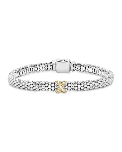 Lagos   Metallic 18k Gold And Sterling Silver X Collection Rope Bracelet With Diamonds   Lyst