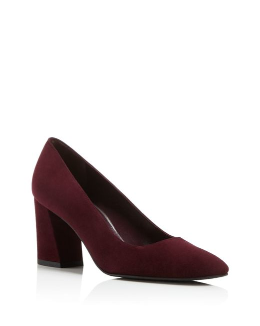 stuart weitzman mary high heel square toe pumps in blue bordeaux lyst. Black Bedroom Furniture Sets. Home Design Ideas