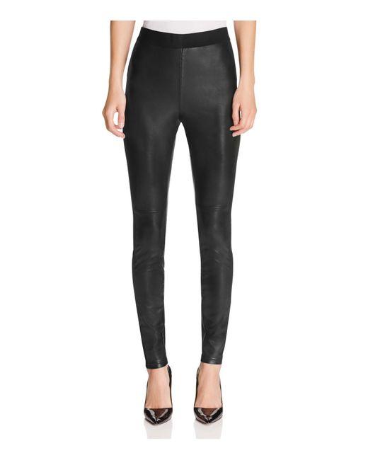 Hue Panelled Leatherette Leggings in Black