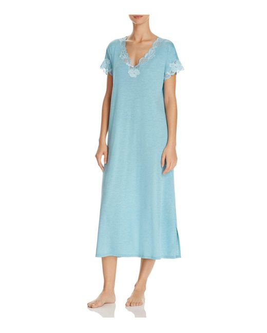 Natori | Blue Zen Floral-trim Nightgown | Lyst