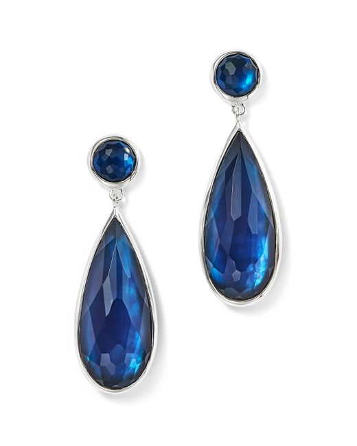 Ippolita | Stella London Blue Topaz, Diamond & Sterling Silver Rectangle Drop Earrings | Lyst