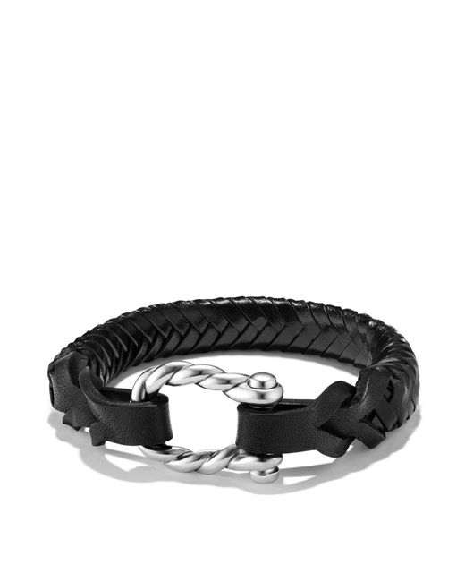 David Yurman | Maritime Leather Woven Shackle Bracelet In Black | Lyst