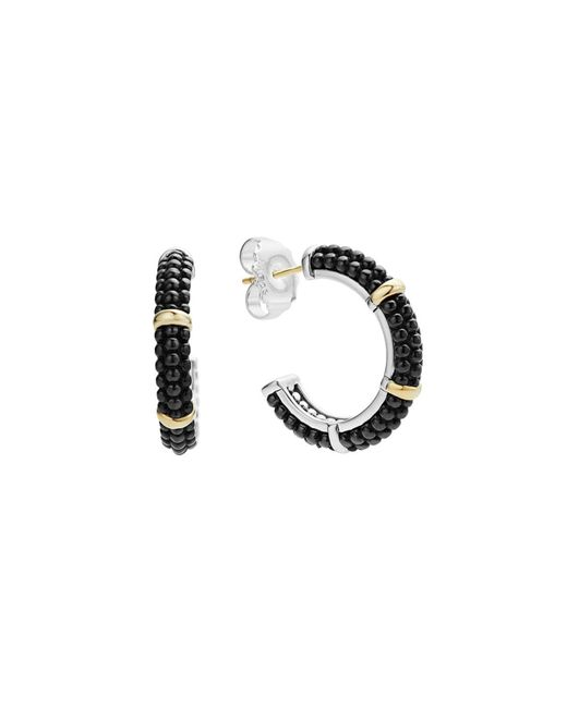Lagos | Black Caviar Ceramic 18k Gold And Sterling Silver 3 Station Hoop Earrings | Lyst