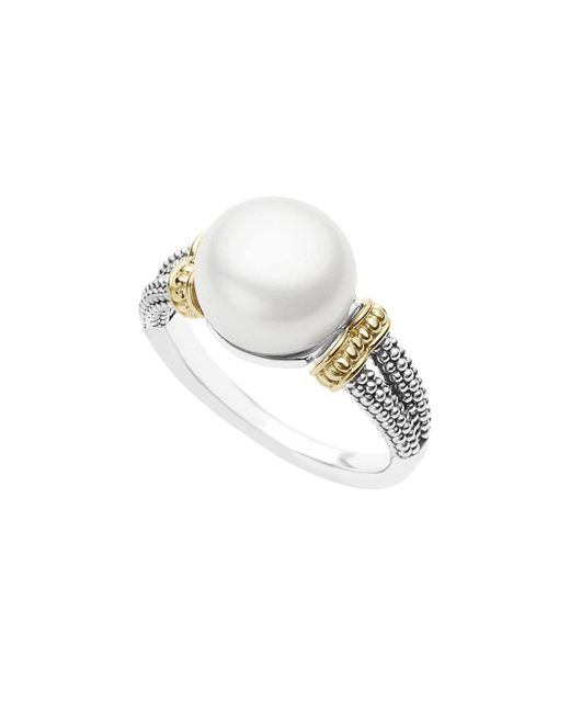 Lagos | White 18k Gold And Sterling Silver Luna Ring With Cultured Freshwater Pearl | Lyst