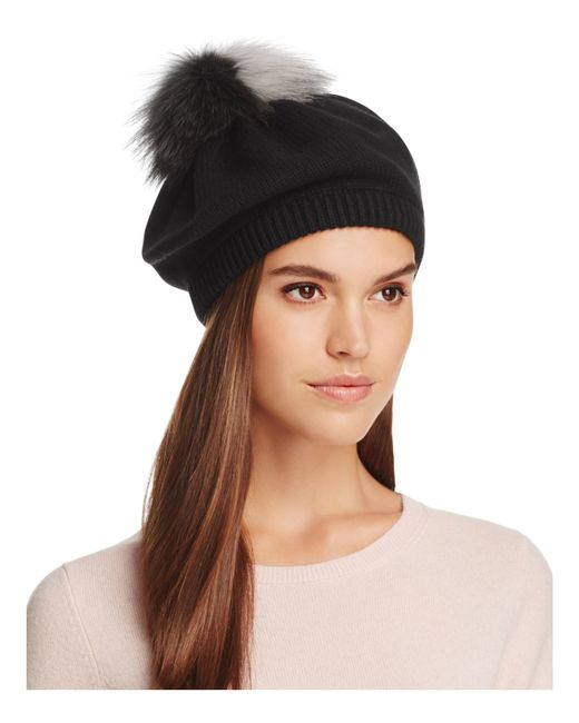 Inverni | Black Knit Beanie With Two-tone Fox Fur Pom-pom - Bloomingdale's Exclusive | Lyst