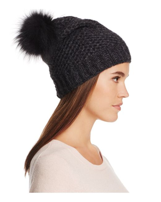 Inverni | Black Fur Pom-pom Beanie Hat | Lyst